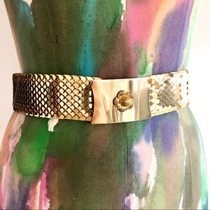 💫VINTAGE 80s Gold Elastic Metallic Belt